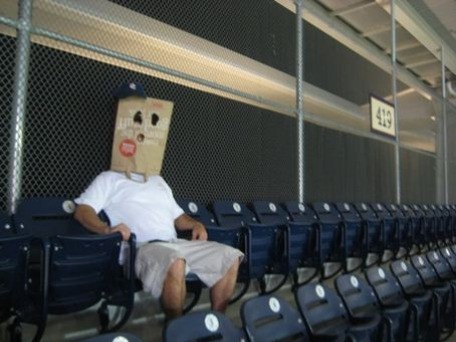 Image result for fan with paper bag on head